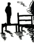 silhouette sketch of lone man standing on a dock - by Rosella Brewster