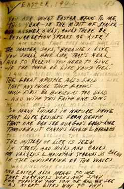 Easter 1942 Journal Entry – Earl Ray Brewster