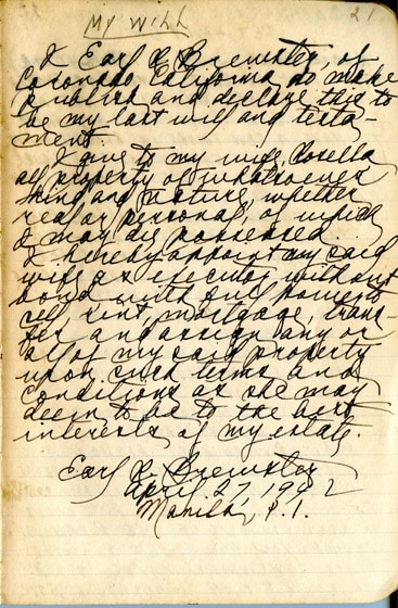 The Will of Chaplain Earl Ray Brewster during WWII