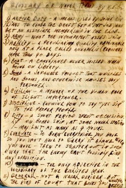 Earl Ray Brewster Notebook entry – glossy of U.S. Navy Terms