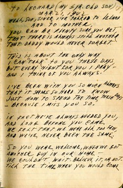 To Leonard March 21, 1942 – WWII Journal Entry