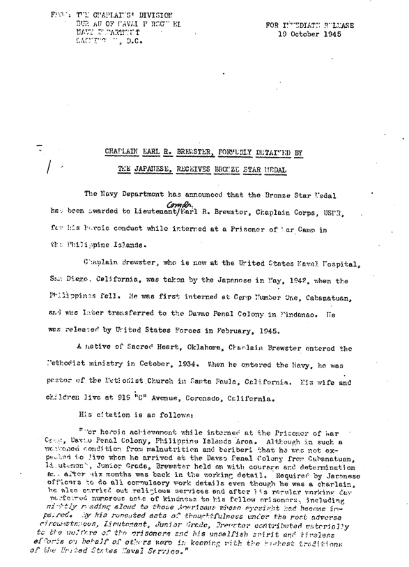 Original Document - Chaplain Earl R. Brewster - FORMERLY DETAINED BY THE JAPANESE, RECEIVES BRONZE STAR MEDAL