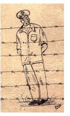 sketch of Chaplain behind barbed wire, by Rosella Brewster